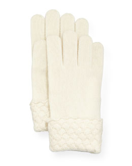 Cashmere Basket-Weave Trim Tech Gloves
