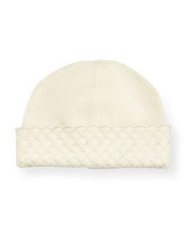 Cashmere Jersey Hat w/Basket-Weave Trim