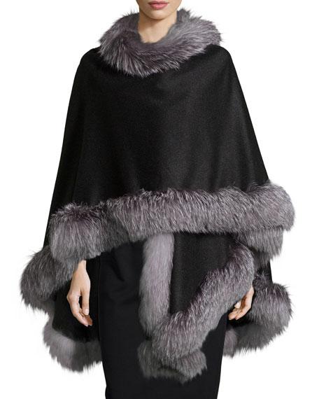 Sofia Cashmere Fox-Fur-Trim Cashmere Cape, Charcoal