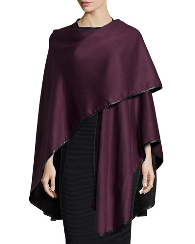 Cashmere Reversible Cape w/Leather Trim