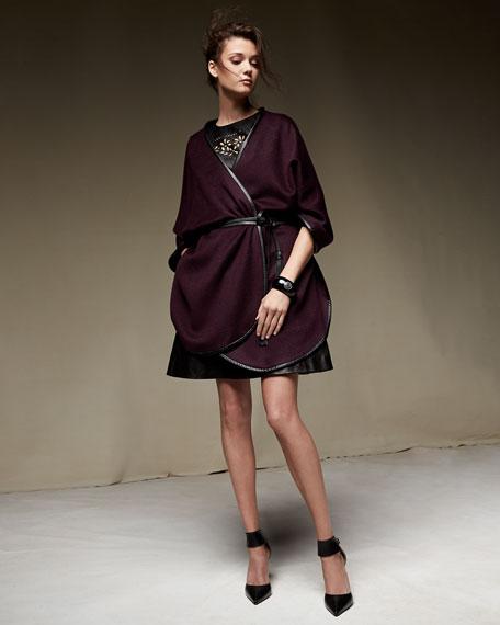 Sofia Cashmere Double Face Cashmere Reversible Cape w/Leather Trim