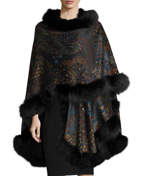 Sofia Cashmere Fox-Fur-Trim Paisley-Print Cashmere Cape, Teal