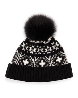 Fair Isle Hat w/Fox Fur Pom-Pom