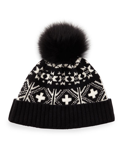 e64cc9a5faca3 1 Sofia Cashmere Fair Isle Hat w Fox Fur Pom-Pom Buy Now ...