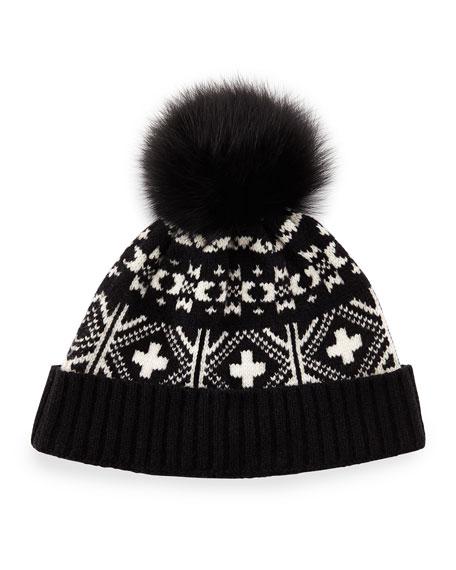 Sofia Cashmere Fair Isle Hat w/Fox Fur Pom-Pom