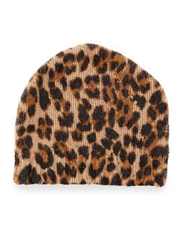 Leopard-Print Cashmere Beanie Hat