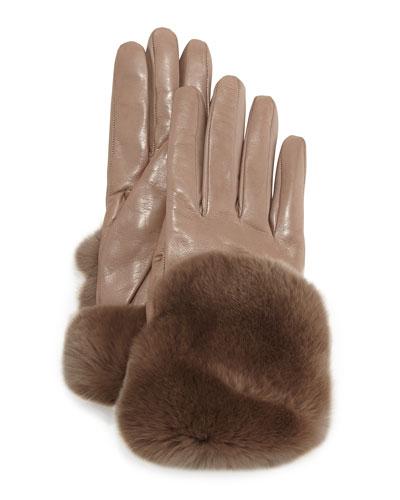 Fur-Trimmed Leather Gloves, Totora