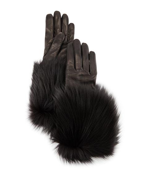 Mario Portolano Napa Leather Gloves w/Fur Trim