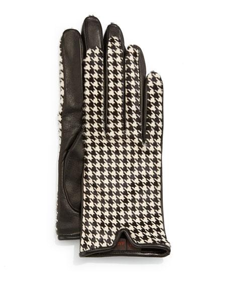 Mario Portolano Houndstooth-Print Calf Hair & Leather Gloves