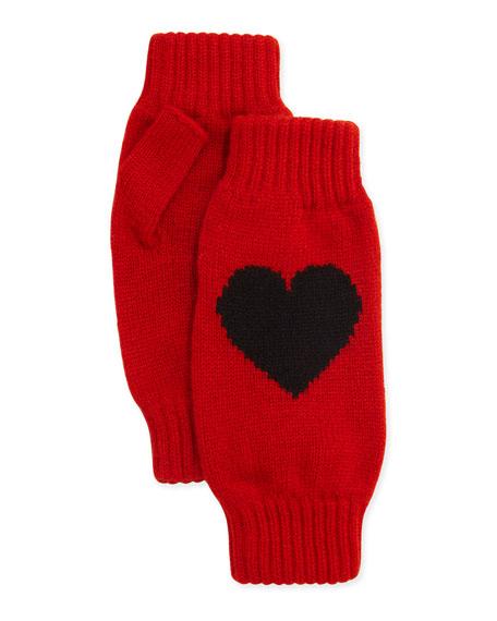 Rosie Sugden Cashmere Heart Fingerless Gloves, Red/Black