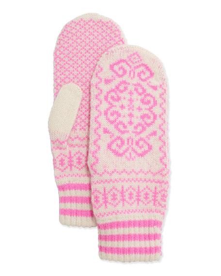 Rosie Sugden Cashmere Printed Mittens, Ivory/Pink