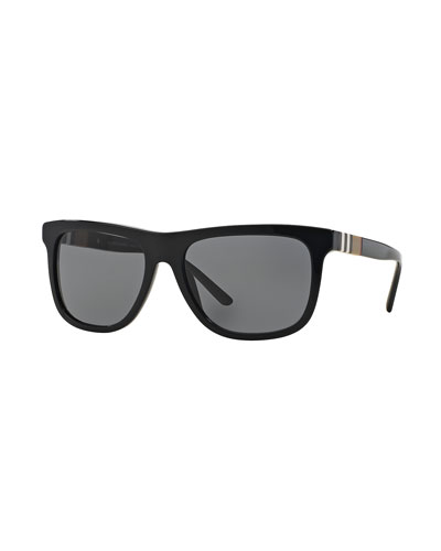 Check-Temple Rectangular Sunglasses, Black