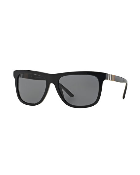 Burberry Check-Temple Rectangular Sunglasses, Black