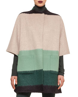 Colorblock Striped Patch-Pocket Cape