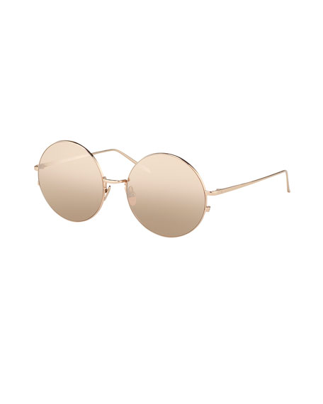 Linda Farrow Round Metal Sunglasses, Rose-Tone