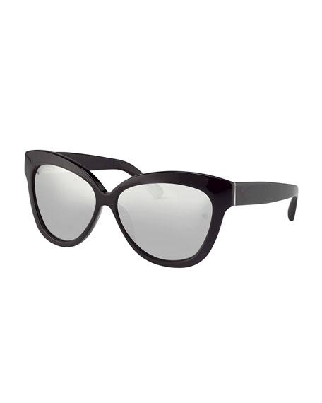 Thick Cat-Eye Sunglasses, Black