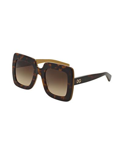 Chunky Square Sunglasses, Havana