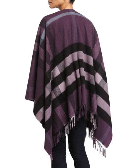 Collette Check Wool-Blend Cape, Purple