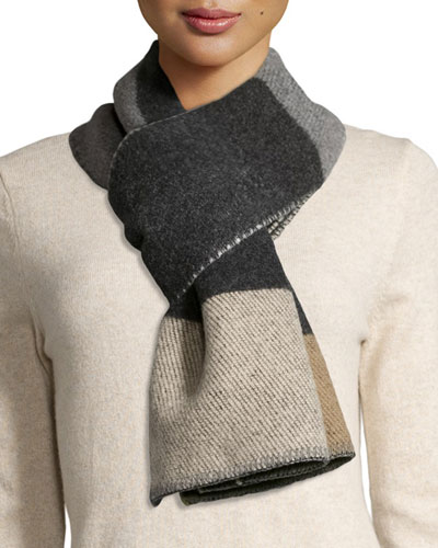 Colorblock Mega-Check Blanket Scarf, Camel