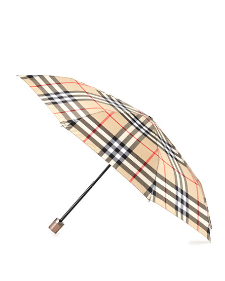 BurberrySustainable Trafalgar Check Folding Umbrella, Camel