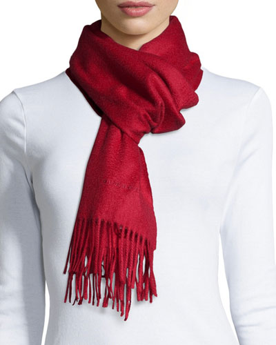 Logo Embroidered Cashmere Scarf, Red