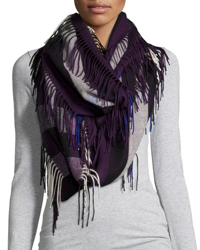 The Fringe Cashmere Half Mega Check Scarf, Black Currant