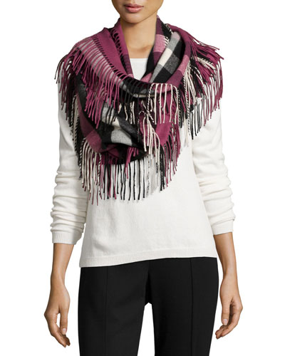 The Fringe Half Mega Check Cashmere Scarf, Dusky Heather