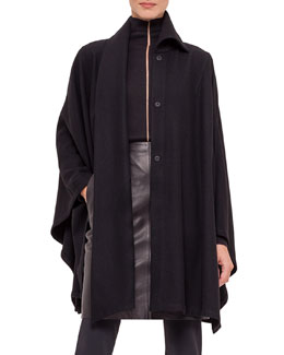 Long-Sleeve Cashmere Cape W/Attached Scarf, Black