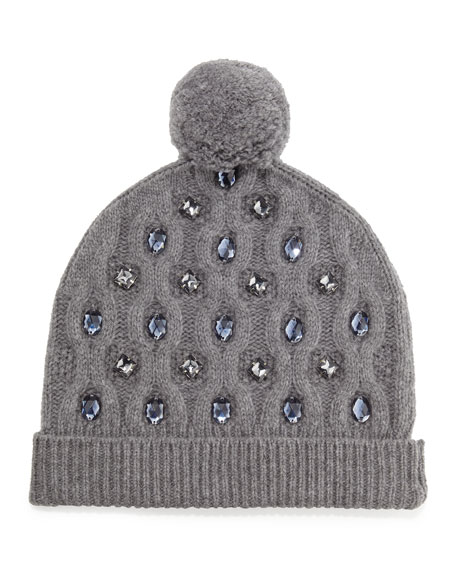 Jewel-Flower Beanie, Medium Gray