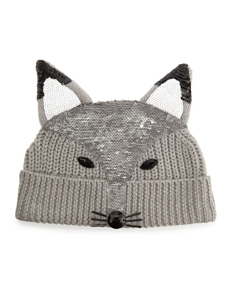 Sequin-Fox-Face Beanie, Light Gray