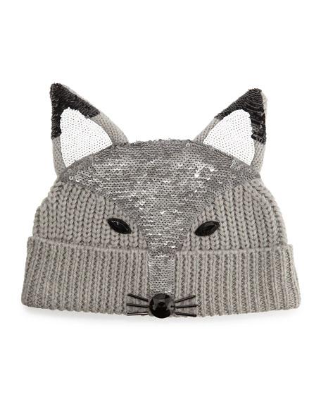 Markus Lupfer Sequin-Fox-Face Beanie, Light Gray