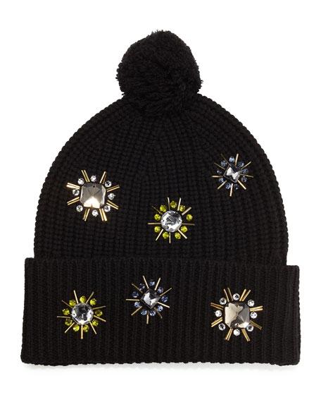 Jewel-Flower Wool Beanie, Black