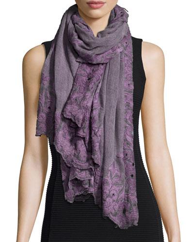 Greca Embroidered Shawl, Dark Purple