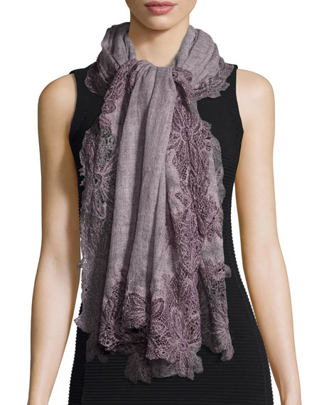 Faliero Sarti Fiorangela Gauze Scarf w/Crochet, Light Purple