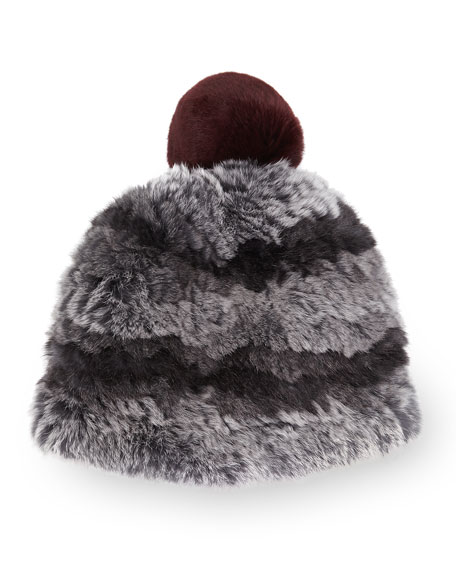 Rabbit Fur Pom-Pom Beanie, Gray/Wine
