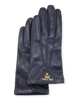 Napa Leather Gloves, Dark Blue