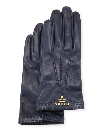 Napa Leather Gloves, Dark Blue