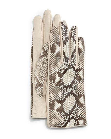Guanti Python/Napa Leather Gloves, Roccia