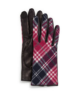 Plaid Cashmere-Back Leather Gloves