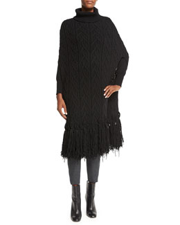 Fringed Cable-Knit Turtleneck Cape, Black