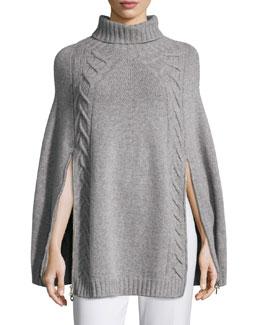 Double-Zip Knit Poncho, Gray
