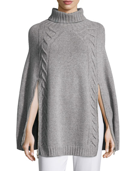 AgnonaDouble-Zip Knit Poncho, Gray