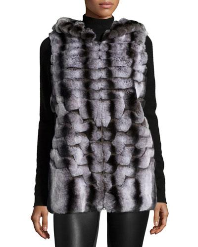 Hooded Rabbit Fur Vest, Dark Gray