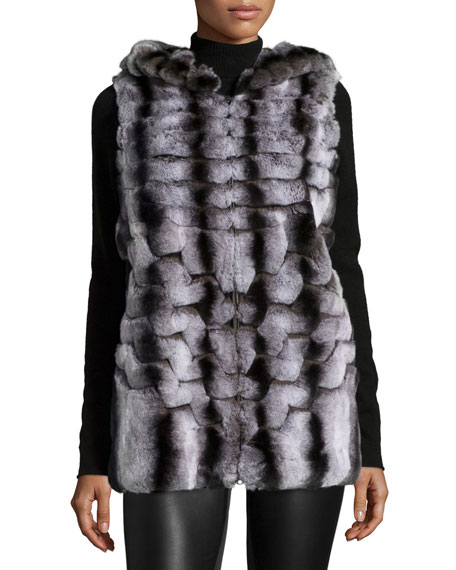 Gorski Hooded Rabbit Fur Vest, Dark Gray