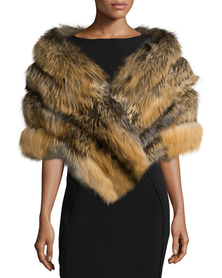Fox Fur Stole w/Leather Insets