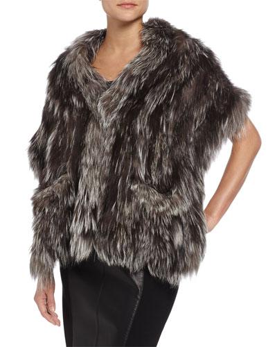 Knit Fox-Fur Shawl with Pockets