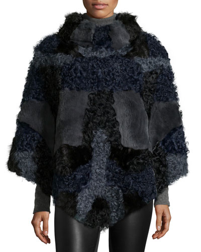 Fur Patchwork Poncho, Black/Blue