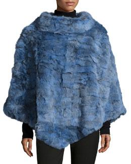 Sculpted Rabbit Fur Poncho, Blue