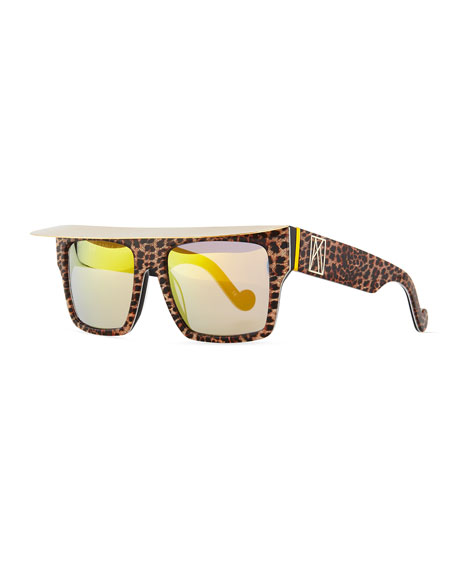 Anna-Karin Karlsson Shady Sunglasses with Visor, Glitter Leopard