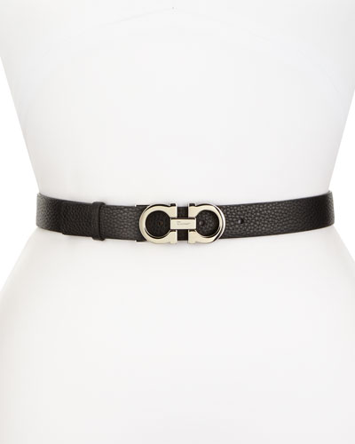 Logo-Buckle Leather Belt, Black